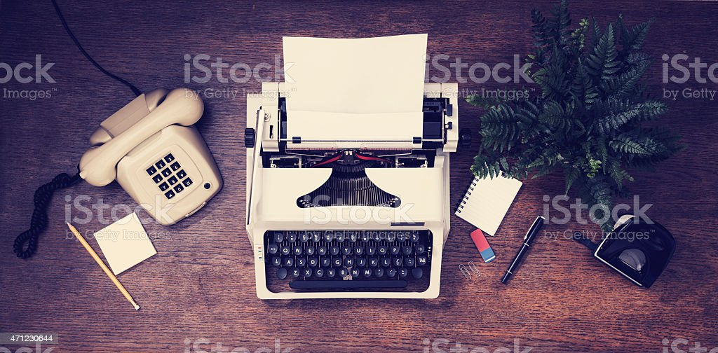 An old fashioned Typewriter & Telephone from the 1868-1892  stock photo