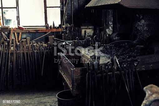 istock An old forge with many pliers and tools in a historic workshop from the turn of the century 978517250