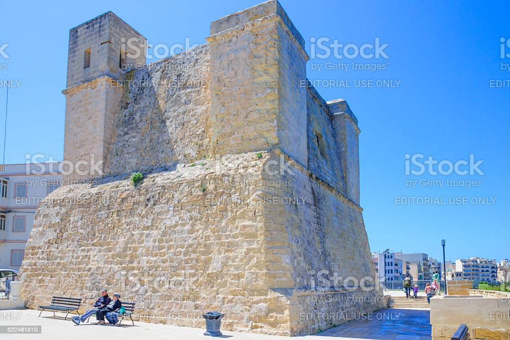 An old fort in Qawra stock photo