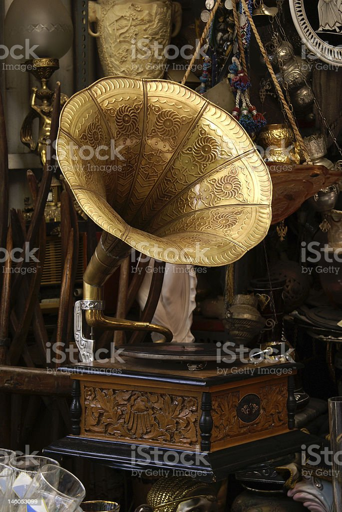 An old gold and blue gramophone royalty-free stock photo