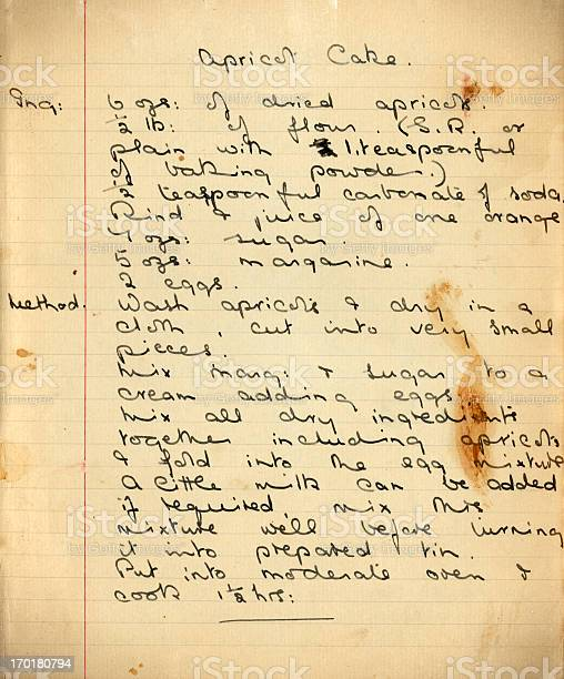 An old handwritten recipe for apricot cake picture id170180794?b=1&k=6&m=170180794&s=612x612&h=lrl3udhfqv6qjm bdzbrwsuuoeqhvjfr0irshxejd7w=