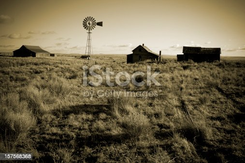 Old Homestead and windmill in central Oregon