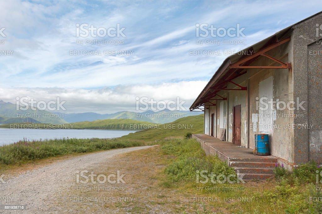 An old house in Tundra Dr road, Unalaska, Alaska. stock photo