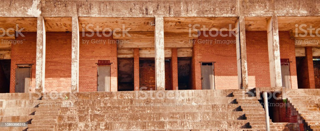 An old incomplete construction building stock photo