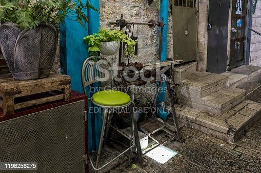 istock An old lathe stands as a decoration on a night street in the old part of Nazareth in Israel 1198256275