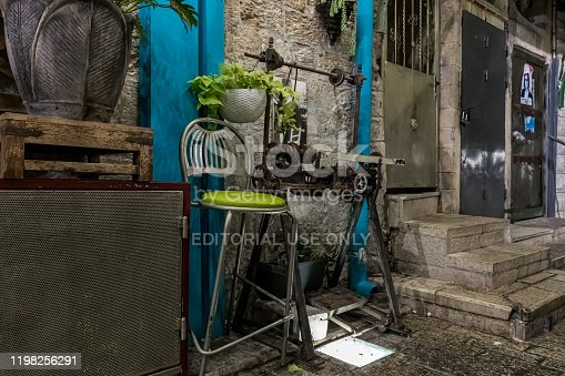 istock An old lathe stands as a decoration on a night street in the old part of Nazareth in Israel 1198256291