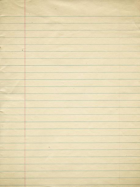an old page of lined paper with red margin - linjerat papper bakgrund bildbanksfoton och bilder