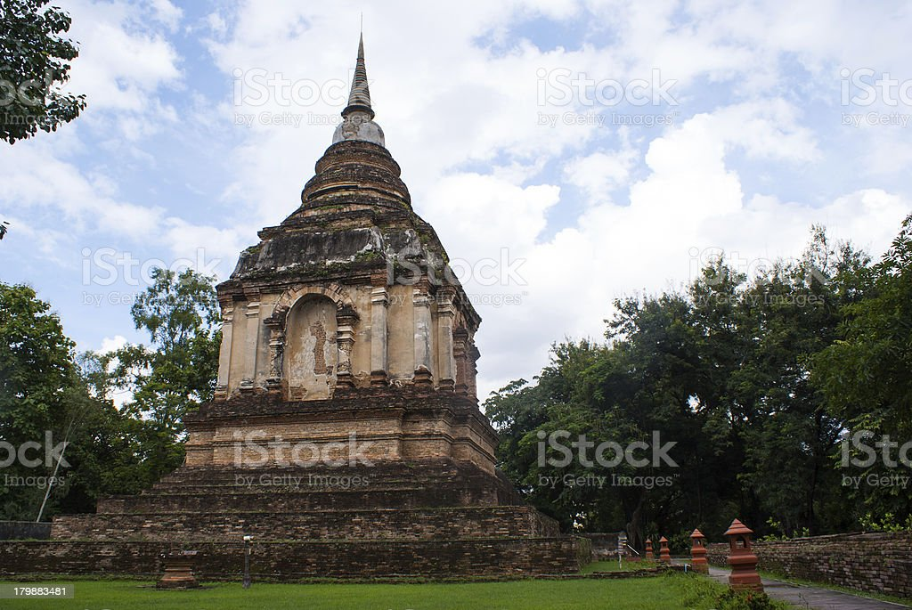 An old pagoda at temple, wat jedyod chiangmai, Thailand royalty-free stock photo