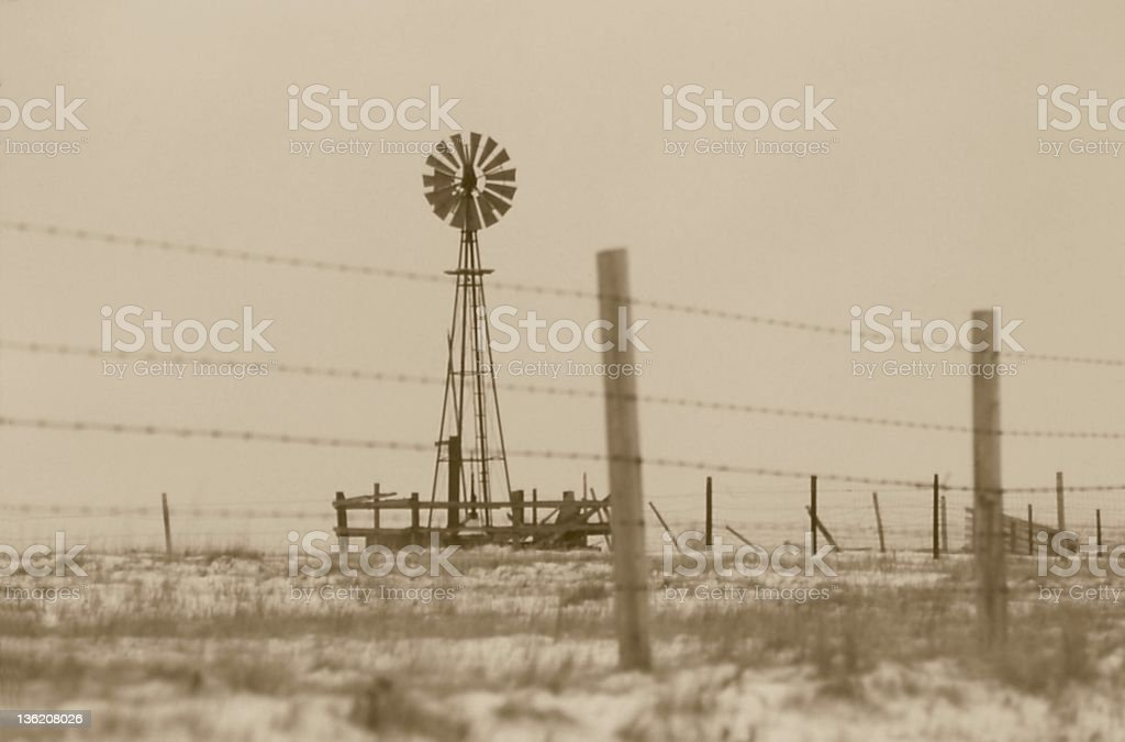 An old photo of an abandoned windmill royalty-free stock photo