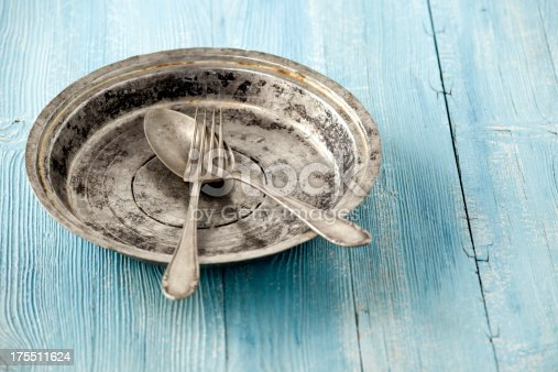 An old metal plate with fork and spoon on wooden table
