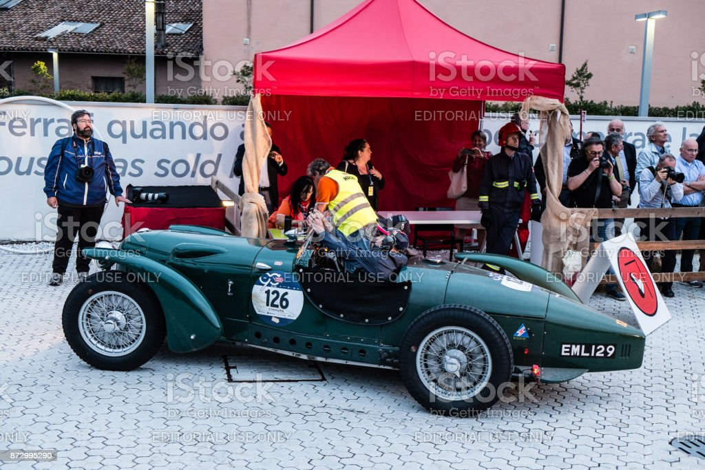 Aston Martin 2 Litre Speed Model An Old Racing Car In Rally Mille Miglia 2017 The Famous Italian Historical Race Passage Control At Museum Enzo Ferrari Stock Photo Download Image Now Istock