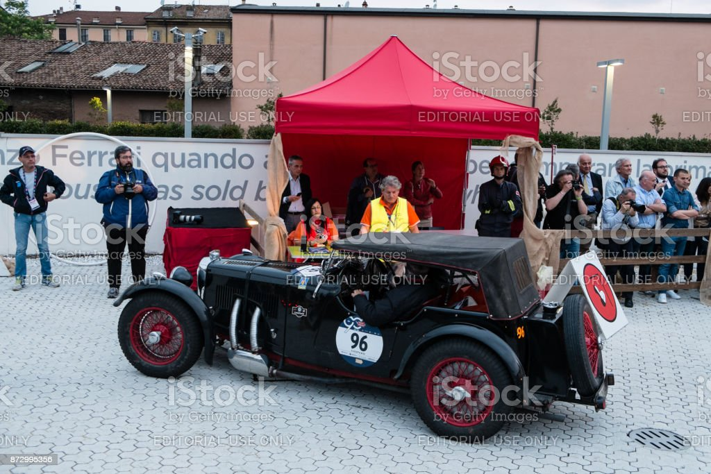 Aston Martin Le Mans An Old Racing Car In Rally Mille Miglia 2017 The Famous Italian Historical Race Passage Control At Museum Enzo Ferrari Stock Photo Download Image Now Istock