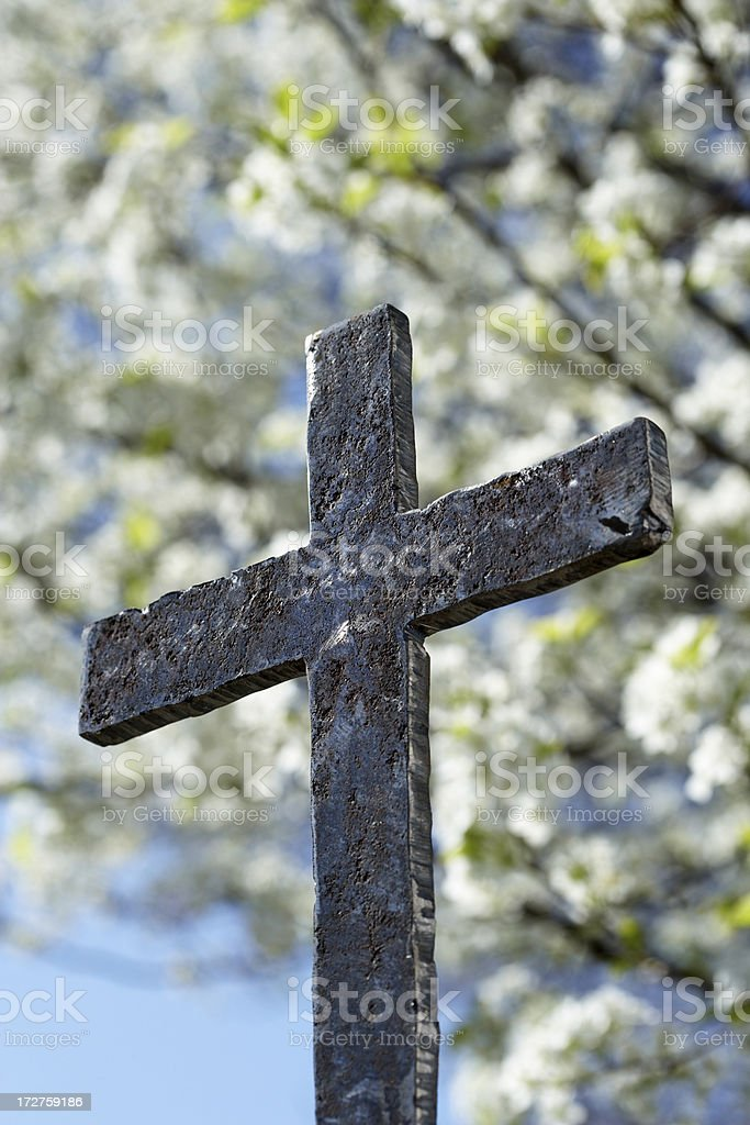 An old rusty iron crucifix with blurred tree in background royalty-free stock photo