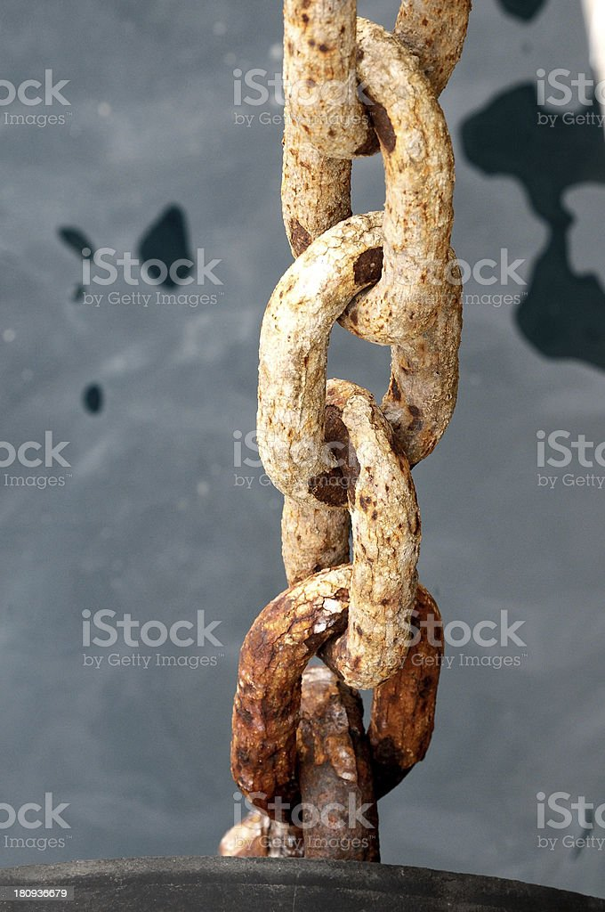 An Old Rusty Naval Chain royalty-free stock photo