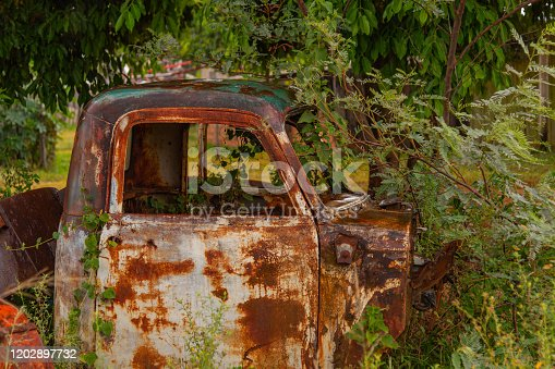 An Old Self-Propelled Cabin. Front end of an old scrap truck abandoned in the green grass. Automotive antiques.