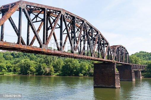 istock An old steel railroad trestle bridge over the Monongahela River 1254679125