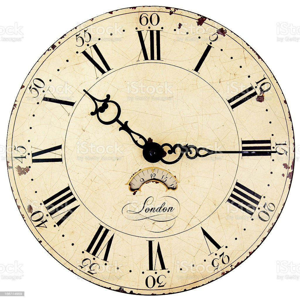 An old style clock with Roman numerals  royalty-free stock photo
