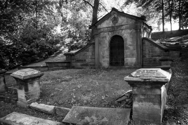 een oude graftombe in het midden van het bos - mausoleum stockfoto's en -beelden