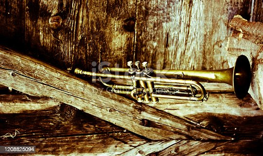 istock an old trumpet in an old background 1208825094