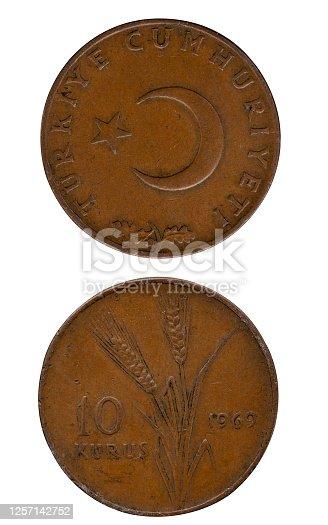 An Old Turkish 10 Kuruş Coin İsolated On White,1969