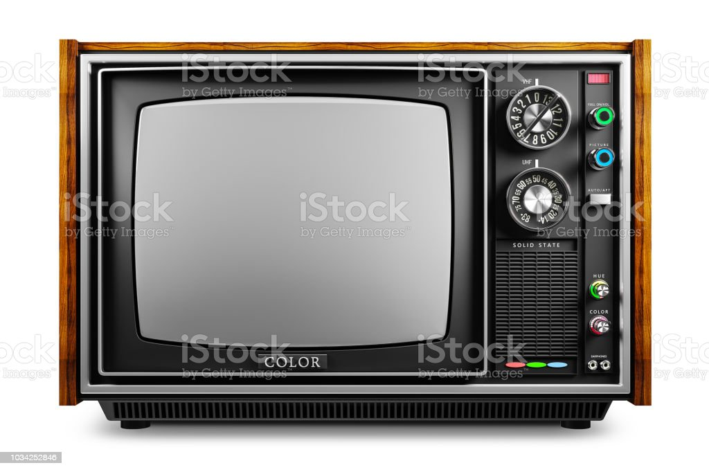 An old TV with a monochrome kinescope stock photo