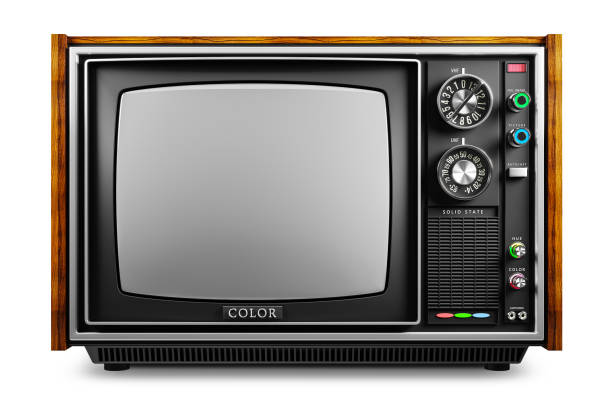 An old TV with a monochrome kinescope - foto stock