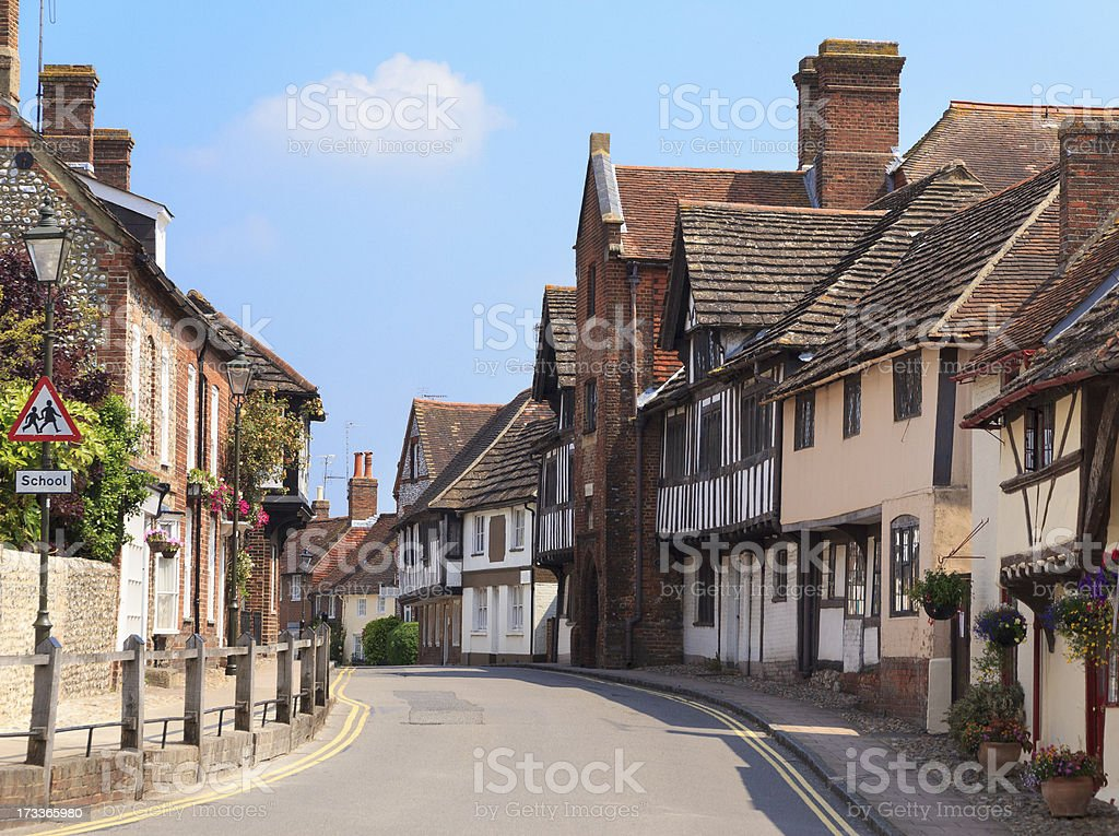 An old village street in England stock photo