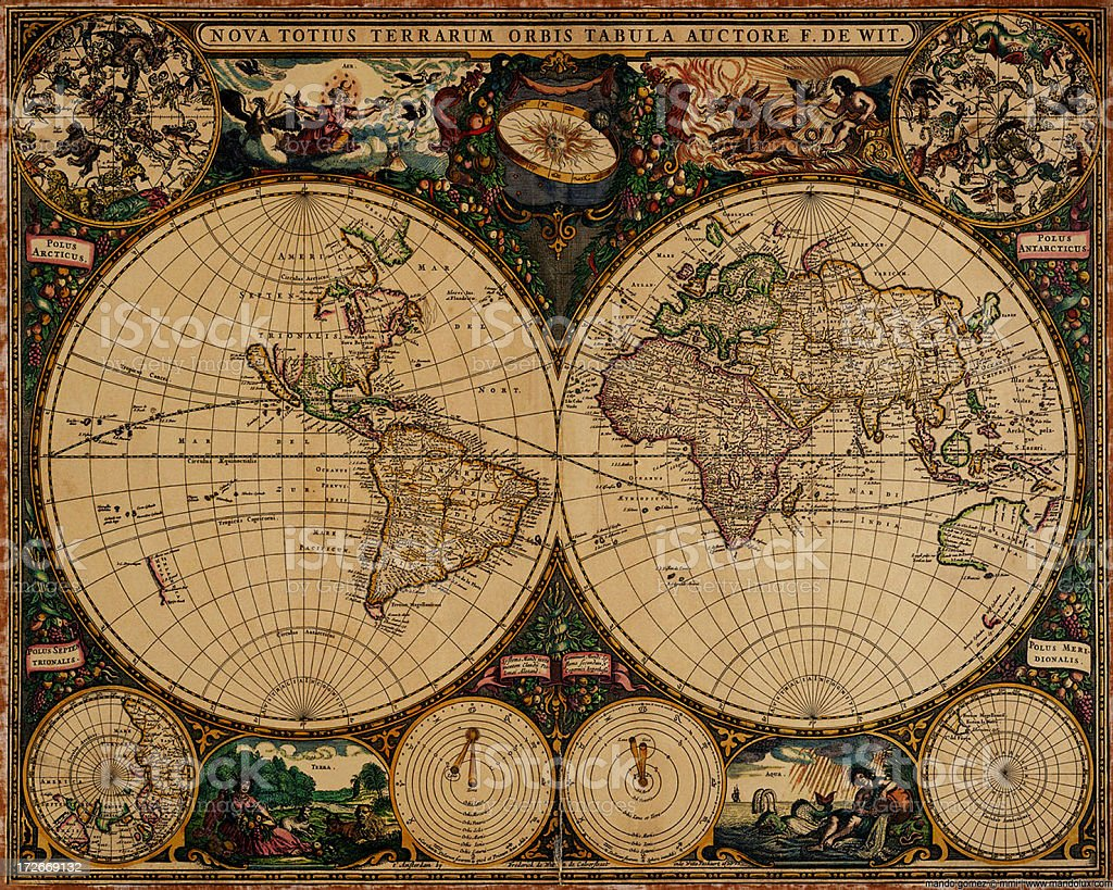 An old vintage map of the world stock photo