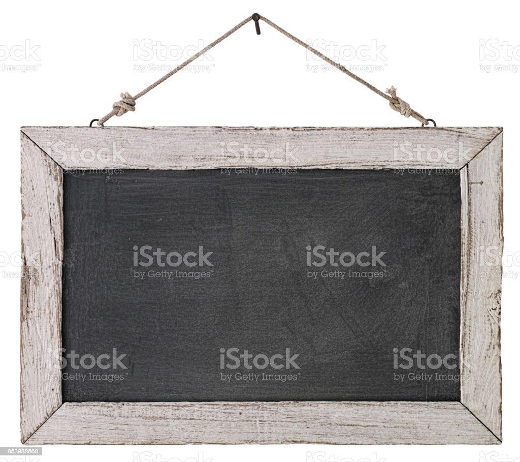 Eine Alte Weiße Holz Gerahmten Tafel Hängen Von Einem Rostigen Nagel ...