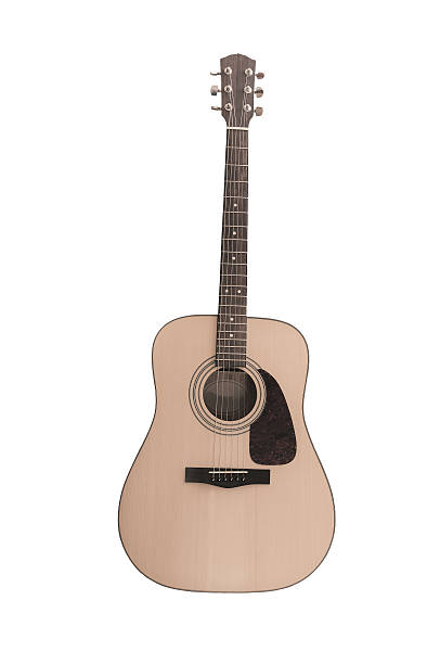 An old wooden acoustics guitar stock photo