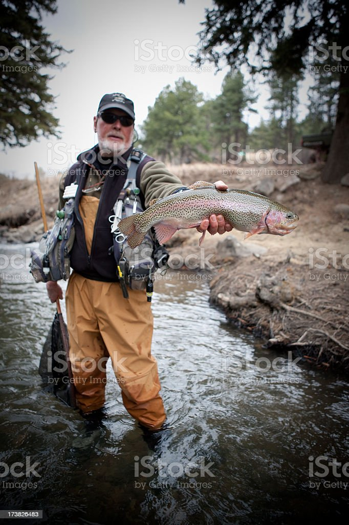 An older fisherman holds up a rainbow trout he caught royalty-free stock photo