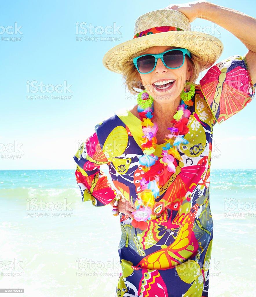 Woman Enjoying At Beach Stock Image Image Of Pleasure: An Older Woman Enjoying The Sun On The Beach Stock Photo