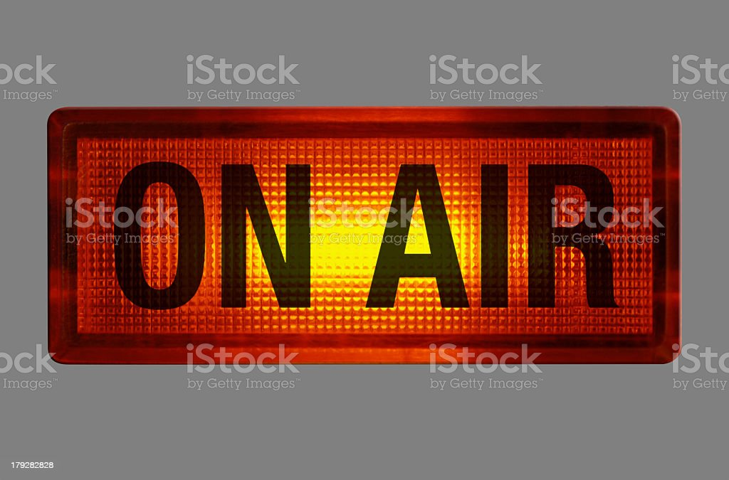 An on air sign with the light on royalty-free stock photo