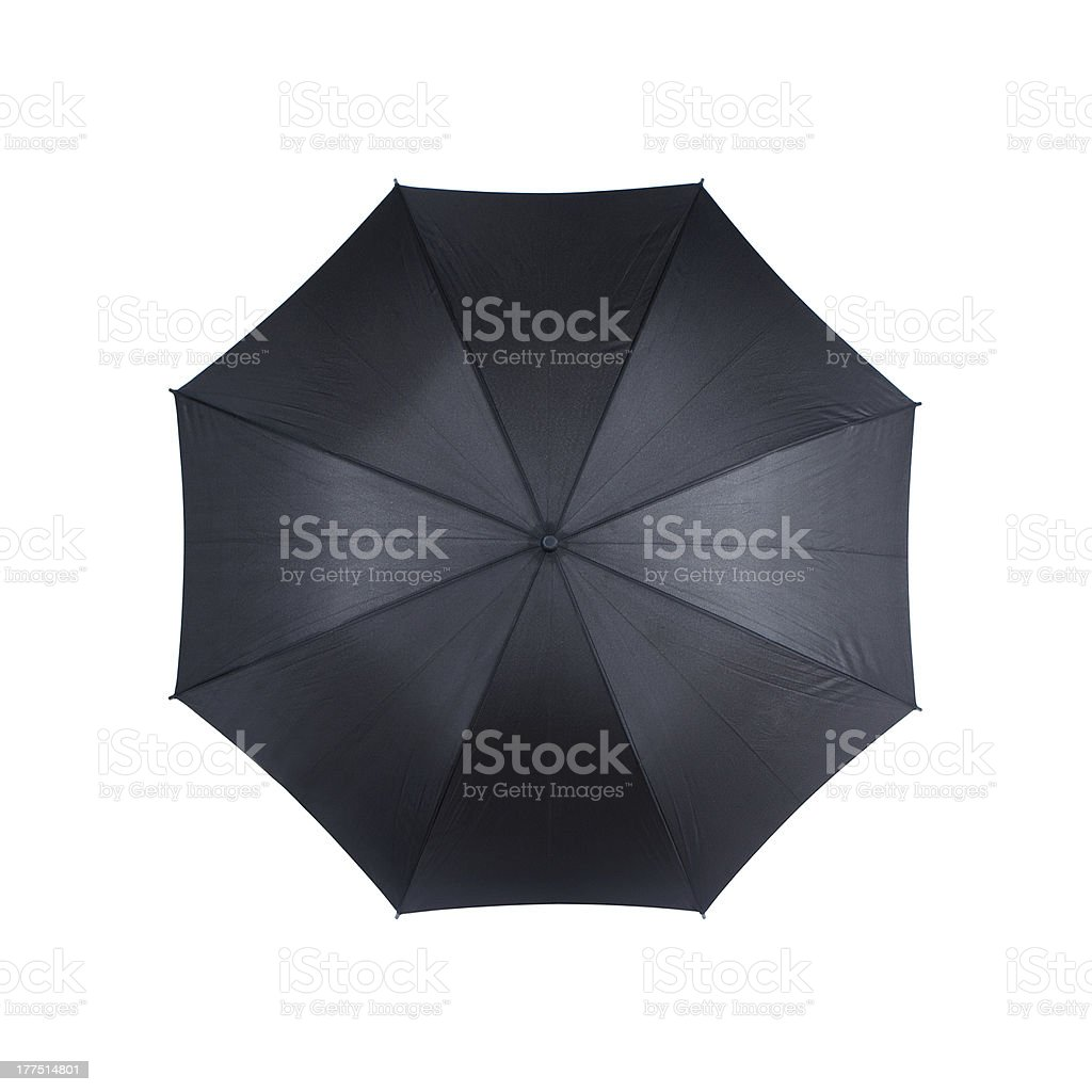 An open black umbrella, isolated on a white background stock photo