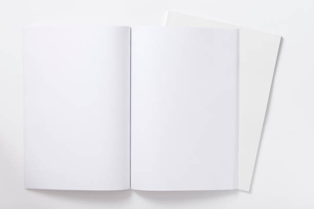 An open blank notebook ready to be filled stock photo