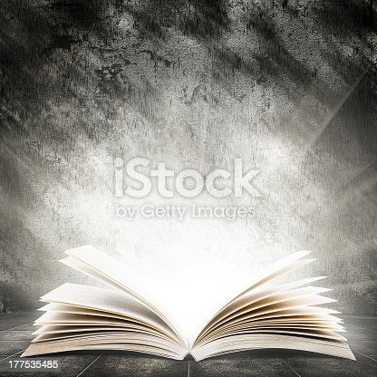 istock An open book illuminating a very bright light 177535485