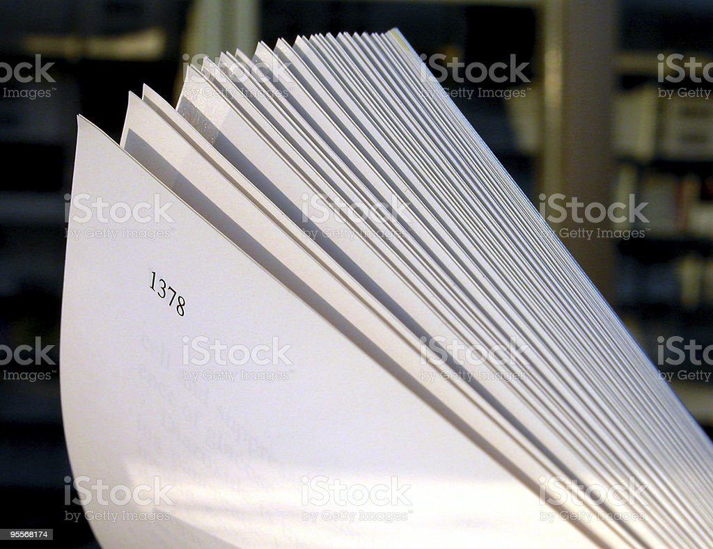 An open book in the library thats displaying page 1378. stock photo