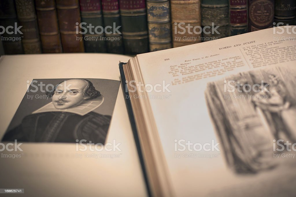An open book with a William Shakespeare portrait stock photo