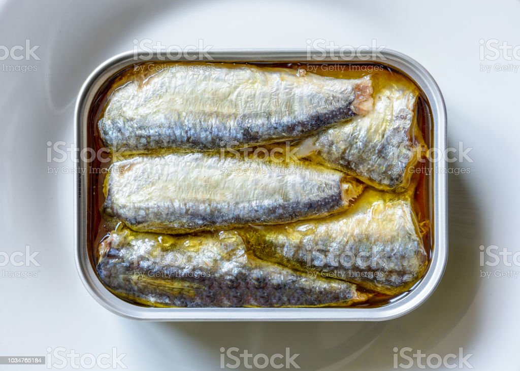 An open can of sardines in oil on a white plate seen from above. stock photo