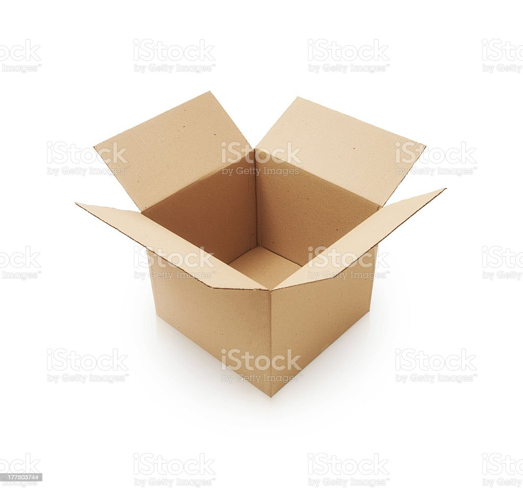 An open cardboard box on a white background stock photo