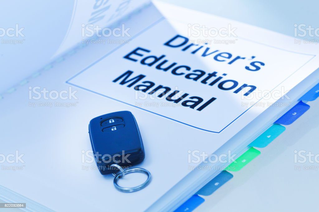 An Open Driver's Education Manual Document Book Still Life stock photo