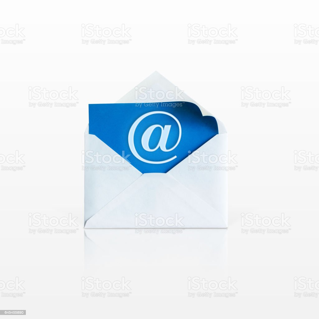 An open envelope on a white background. stock photo