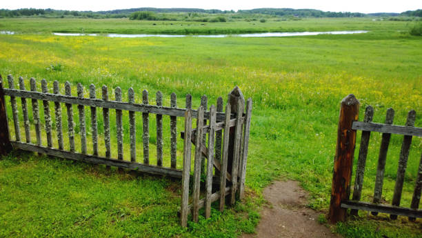an open gate in a wooden fence and a green meadow beyond it, the path in the frame . cloudy summer or late spring outside the city - open gate stock photos and pictures
