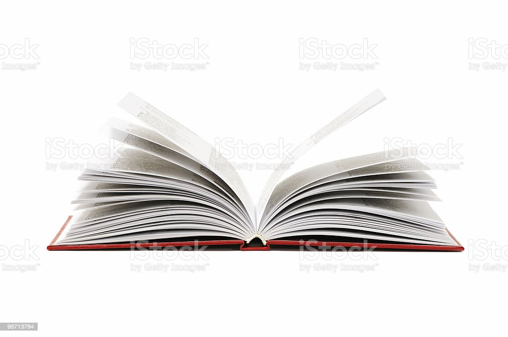 An open hardcover book with pages splayed, isolated on white stock photo