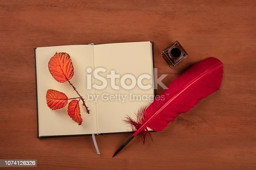 istock An open journal with a thorny branch with autumn leaves, an ink well, a red quill, shot from the top on a dark rustic wooden background with a place for text 1074126326