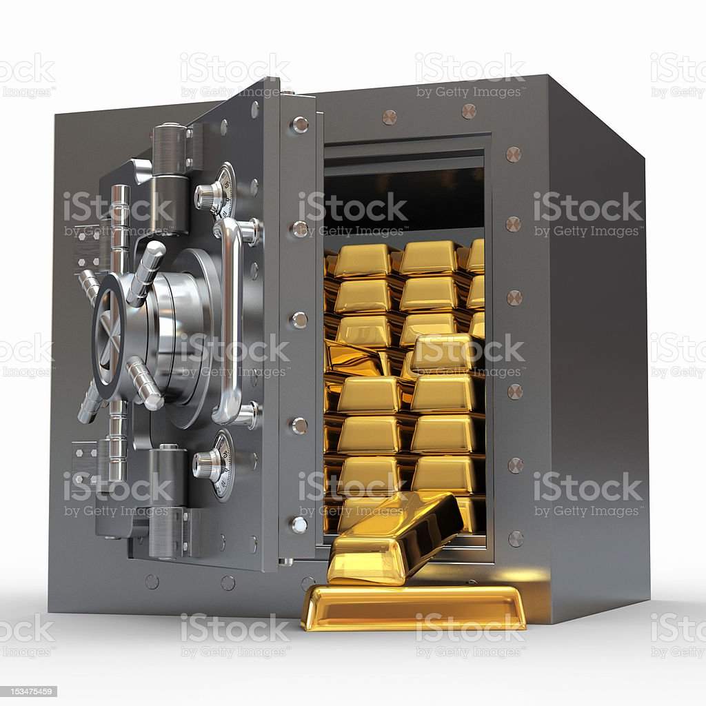 An open silver bank vault with gold bars inside stock photo