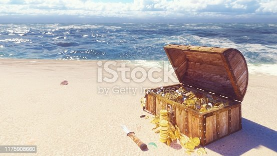 490314373 istock photo An open wooden pirate chest filled with gold coins and diamonds lies on the shore of a lost tropical island. 3D Rendering 1175908660