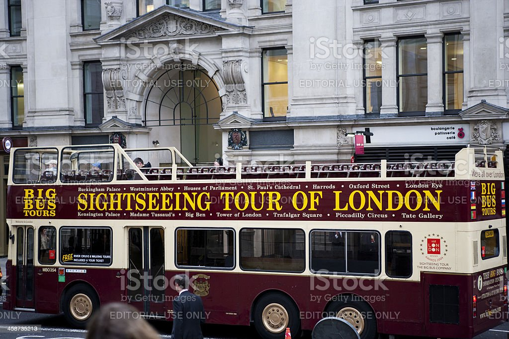 An open-topped tourist bus stock photo