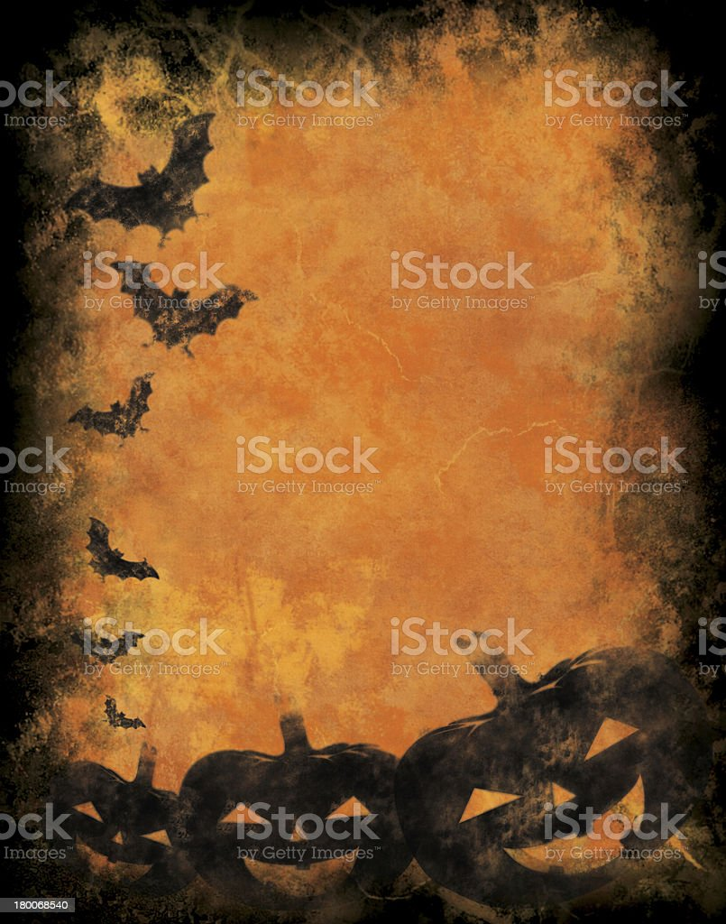 An orange and black bat Halloween background royalty-free stock photo