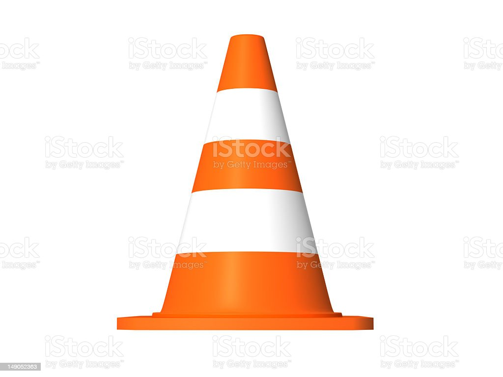 An orange and white safety traffic cone  stock photo